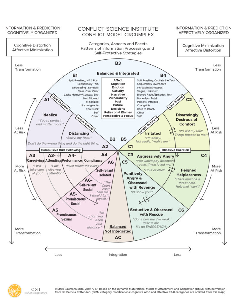 The Conflict Model Circumplex provides a graphical description of DMM attachment patterns and thought and behavior indicators commonly seen in the context of conflict.